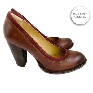 HUSH PUPPIES Rose Faina Wine Leather Pumps Heels